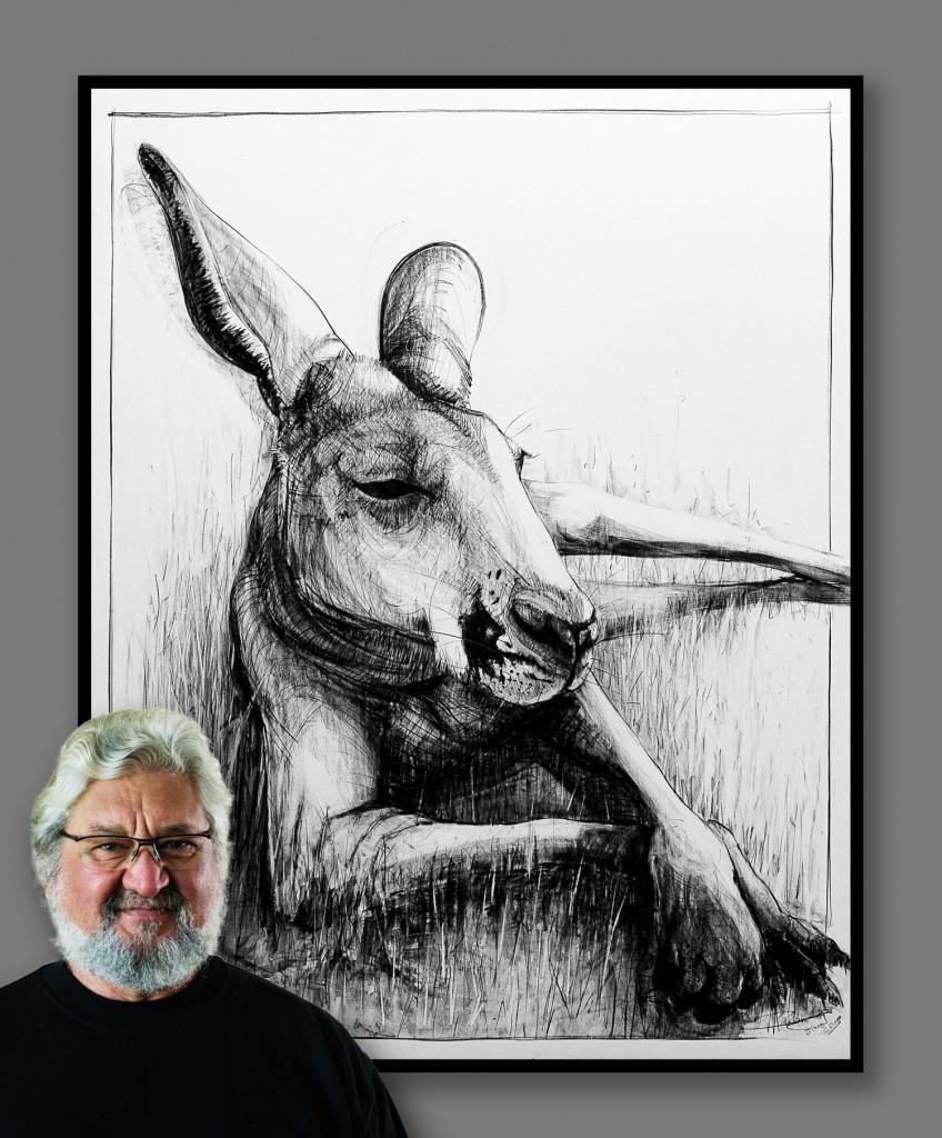 Drawing of Kangaroo 27 b by Michael Chorney Ⓒ