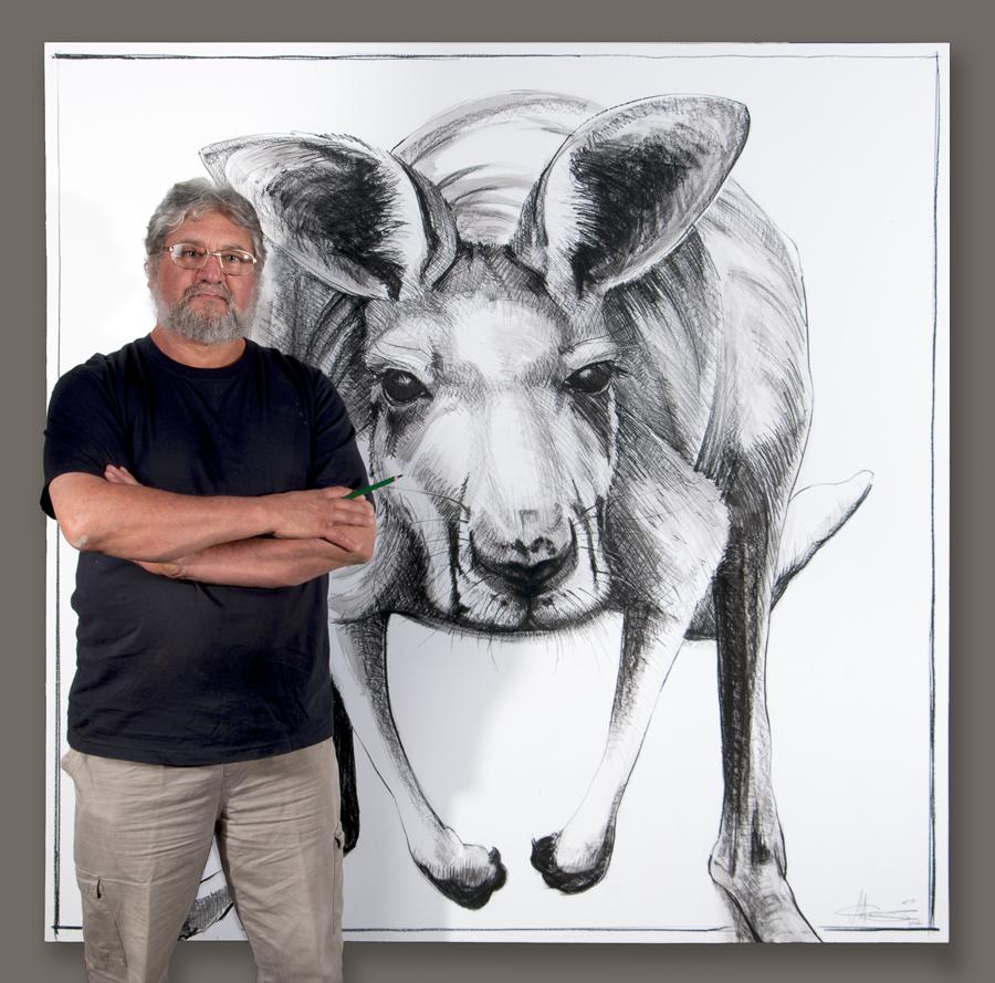 Art work by Michael Chorney in South Australia Drawings of Australian Kangaroos